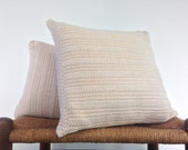Textured Knit Sweater Pillow Covers Up Cycled Off White Cotton Sweater
