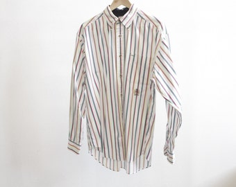 Tommy Hilfiger 90s colorful OXFORD striped cotton button up