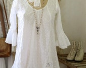 Jeanne d'Arc Living Beloved Dream Tunic/Dress w/embroidered cotton/lace