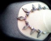 Vintage Gray Stone Fan Bib Necklace with Cloudy Purple Quartzite Stone, Silver Metal Beads