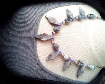 Vintage Gray Stone Fan Bib Necklace with Cloudy Purple Quartzite Stone, Silver Metal Beads