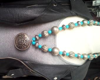 Vintage Silver Metal Aztec Style Circle Pendant w vintage metal silver beads, turquoise quartz beads - hangs 36 inch