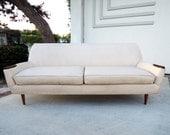 MID CENTURY MODERN Sofa in Cream Vinyl with Tapered Legs (Los Angeles)