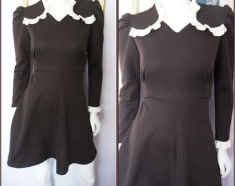 Vtg.60 Brown Cream Ruffle Mod Mini Dress.M.Bust 38.Waist 32.