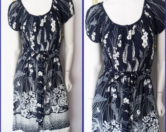 Vtg.60s Navy Blue White Floral Print Belted Midi Dress.S/M.Bust 38.Waist 36.