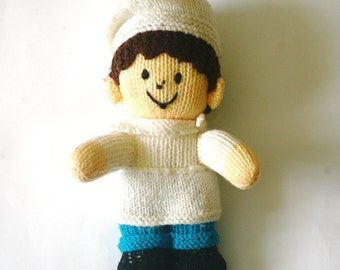 Vintage Hand Knitted Doll Toy Cook Chef Baker Hand Knit from Ukraine Ukrainian