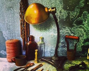 Gooseneck Lamp / Flower Motif / Desk Lamp/ Brass Shade