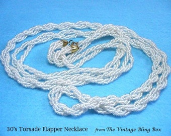 1930s Glass Micro Seed Bead Torsade Necklace with Twisted Strands of Beads in Opera Length - Art Deco 30's Flapper Necklaces