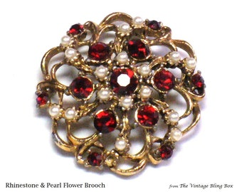 50s Pearl & Ruby Flower Brooch with Seed Pearls and Pave Set Red Chaton Cut Crystals in Gold Open Metalwork - Vintage 50's Costume Jewelry