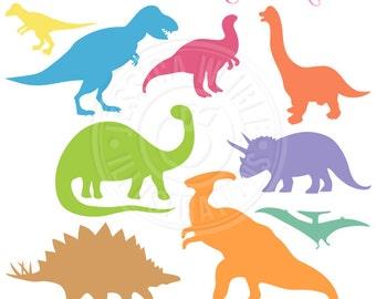 Dinosaur Silhouettes Clipart, Dinosuar Graphics, Dinosaur clip art, Dinosuar Scrapbooking, Cute Dinosuar Digital Images, Stock Art, Vector