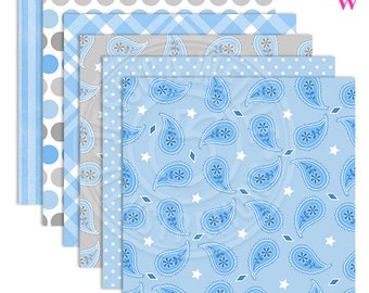 Light Blue Cowboy Baby Cute Digital Papers, Cowboy Papers, Cowboy Patterns, Cowboy Theme Backgrounds, Scrapbook Papers, Paisley, Blue Plaid