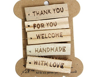 5 Wooden Tags with Iron Thread - thank you, for you, welcome, handmade, with love (2 x 0.6in)
