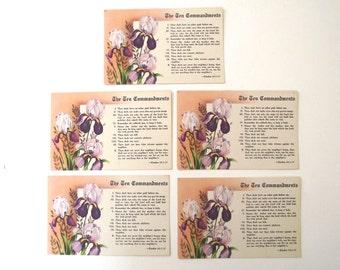 Ten Commandments Postcards, Set of 5 Unused Vintage Postcards