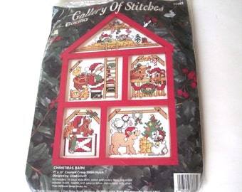Christmas Barn Cross Stitch Kit, Vintage Unused Set with Wooden Barn Shaped Frame