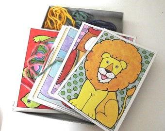 Lacing Cards Set, 6 Vintage Cards with Animal Illustrations and Laces in Box