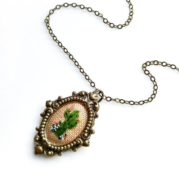 Lil Classic Cactus on peach- hand embroidered necklace, cacti, succulent, desert