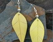 Yellow Leaf Sterling Silver Earrings, Yellow Wooden Leaf Earrings, Banana Yellow Leaf Sterling Silver Earrings