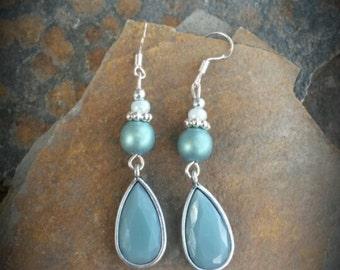 Sage Green Teardrop Sterling Silver Dangle Earrings, Mint Green Teardrop Sterling Silver Earrings