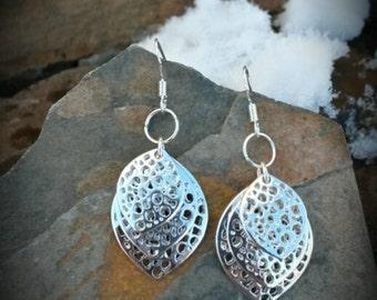 3 Silver Leaf Sterling Silver Earrings, Silver Leaf Earrings, Leaf Sterling Silver Earrings