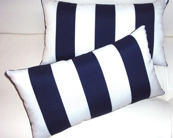 BESTSELLER - 2 Decorative Navy Blue Indoor/Outdoor Nautical Stripe Lumbar Pillows
