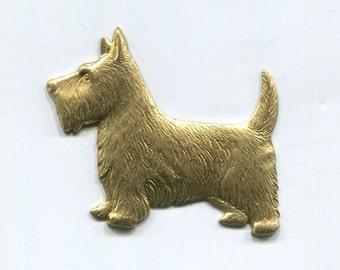 2 Large Scottie Dog Brass Metal Stampings