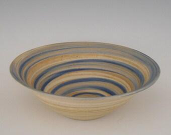 Large Salad Bowl with a Blue Swirl Glaze
