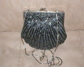 Vintage Graphite Color Beaded Evening Bag Purse