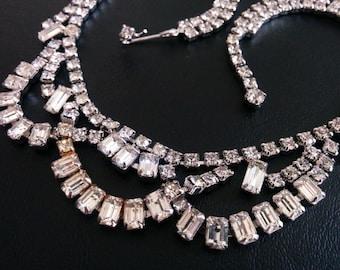 circa1940 Vintage Rhinestone Choker Necklace