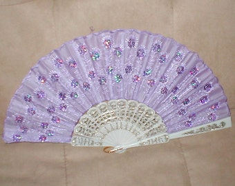 Vintage Lavender Beaded Folding Fan