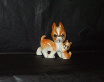 Vintage Japan ADORABLE Mother Dog and Baby Puppy Cross Eyed