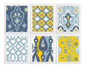 Mustard Blue White Tan Ikat  Wall Art Print Set of {6} Modern Home Decor Custom color available - Shabby Chic Decor-  Shabby Chic