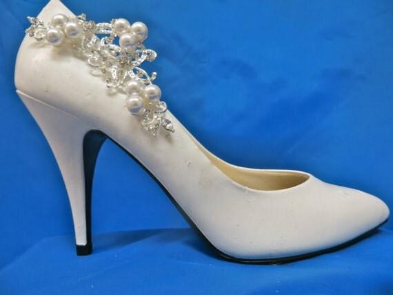 Rhinestone Pearl Shoe Clips, Crystal Bridal Wedding Shoe Clips, Set of 2