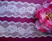 """USA Supplier 3, 5, 10 or 25 Yds 3"""" Wide Stretch Ivory Off White Lace Trim Bridal Wedding Scalloped Lace /Lingerie Headbands Invitations FJT2"""