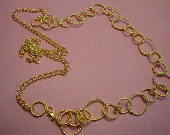 """48"""" Long Neckline gold tone metal chain link necklace Piece Jewelry Embellishment for jewelry making ST"""