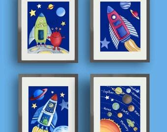 children space art - boys space nursery - childrens wall art prints - outer space nursery - kids wall art decor - spaceship art -alliens