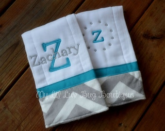 Personalized Burp cloth set prefold diaper- turquoise with grey and white chevron print- set of two