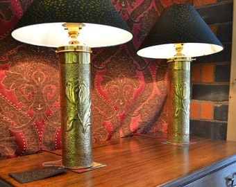 The Lacoona Shells - Pair of converted WWI Trench Art vases with Art Nouveau details with textured, hand painted lamp shades