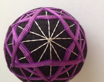 Purple and Black Geo Beauty Temari Ball-Japanese Temari
