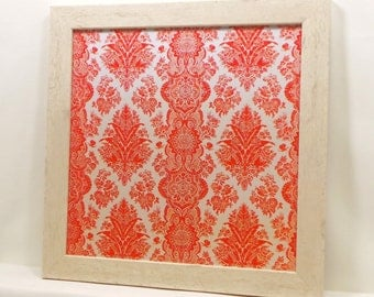 Wall Decor, Magnet Board, Dry Erase Board, Magnetic Memo Board, Framed Bulletin Board, Makeup Board, Coral Damask Design, includes magnets