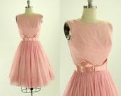 1950's Pale Pink Chiffon Party Dress XS S Meo of California