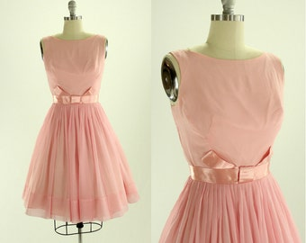1950's Pale Pink Chiffon Party Dress XS S Meo of California