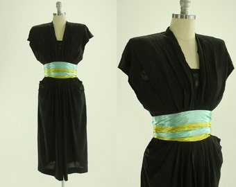 1940's Carlye Black Cocktail Dress S