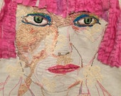 SOLD!!/RESERVED !!!Embroidered Banner of Zandra Rhodes by Trish Vernazza