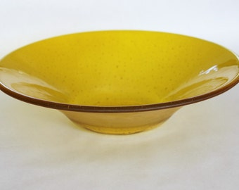 FUSED GLASS BOWL -Bright Lemon Yellow Bowl, Serving Bowl, Fruit Bowl, Fused Glass, Under 80, Wedding Gift, Anniversary Gift, Glass Accent
