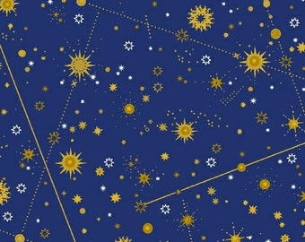 "Celestial from Windham Fabrics - 34"" End of the Bolt of Constellations on Navy/Royal Stars Night Sky"