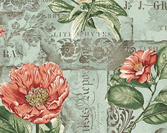 French Quarter From Benartex - Full or Half Yard Vintage Floral in Teal, Sage, Coral - Parchment Background