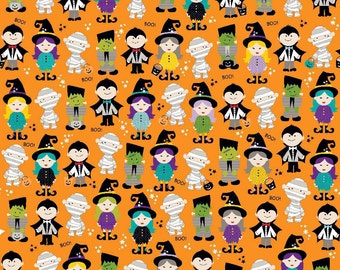 Halloween Magic from Riley Blake - Full or Half Yard Trick or Treaters on Orange