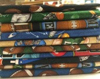 The Whole Nine Yards by Dan Morris for RJR Fabrics - 10 Fat Quarter Bundle Football Fabric