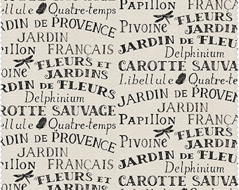 Jardin de Provence from Windham Fabrics - Full or Half Yard Black Words on Cream - Francais, Papillon, Fleurs et Jardins