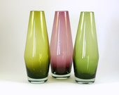 Riihimäen Lasi Glass Vase Trio in Purple and Green -- Riihimaki